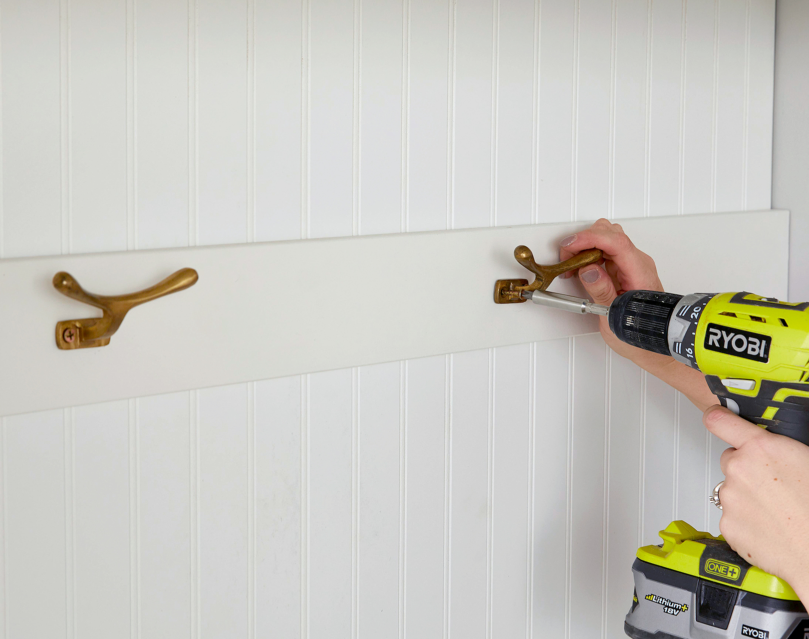 add hooks to panel with screwdriver