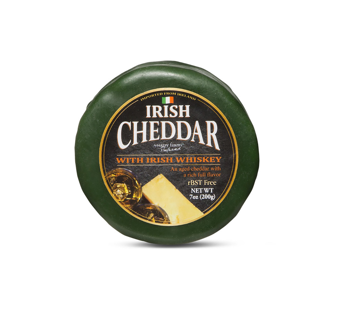 Round package of Irish cheddar made with whiskey