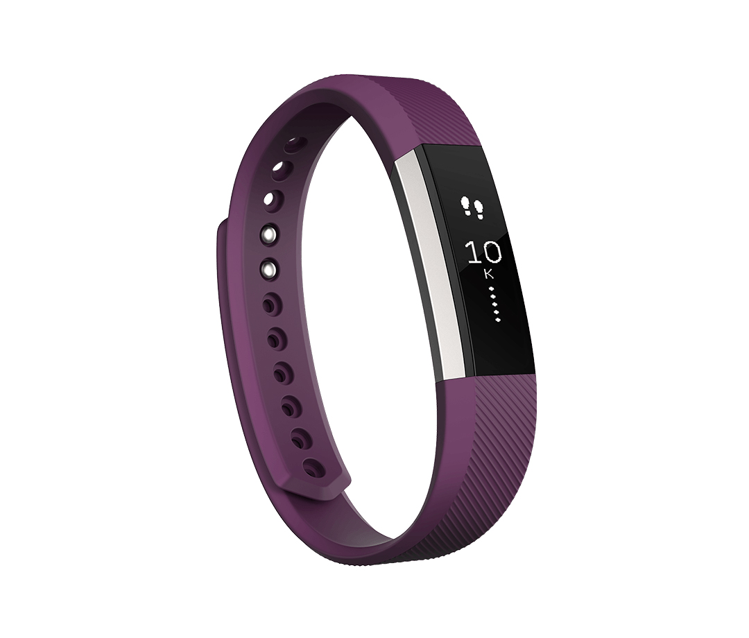 Fitbit Alta fitness tracker with purple band and silver face