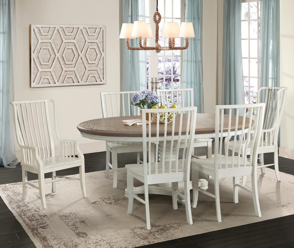 base and natural wood top and six slat-backed dining chairs