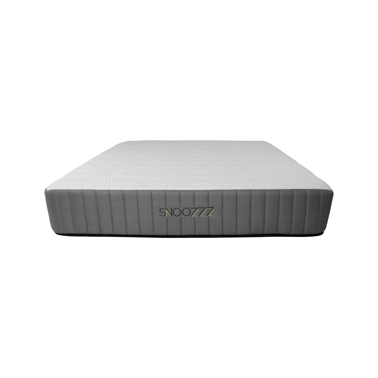Snoozzz mattress from Houzz with dark gray striped sides and flat white top