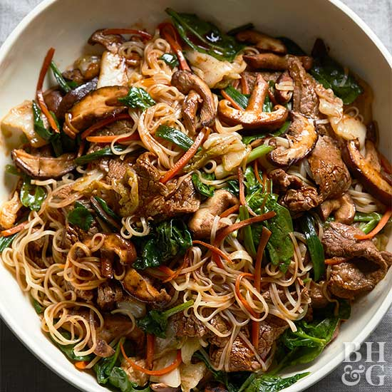 Korean-Style Steak and Noodles with Kimchi