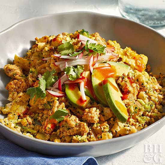 Mexican Fried Veggie Rice with Radishes and Avocado