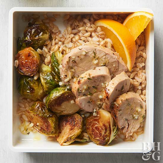 Pork, Brussels Sprouts, and Barley Bowls
