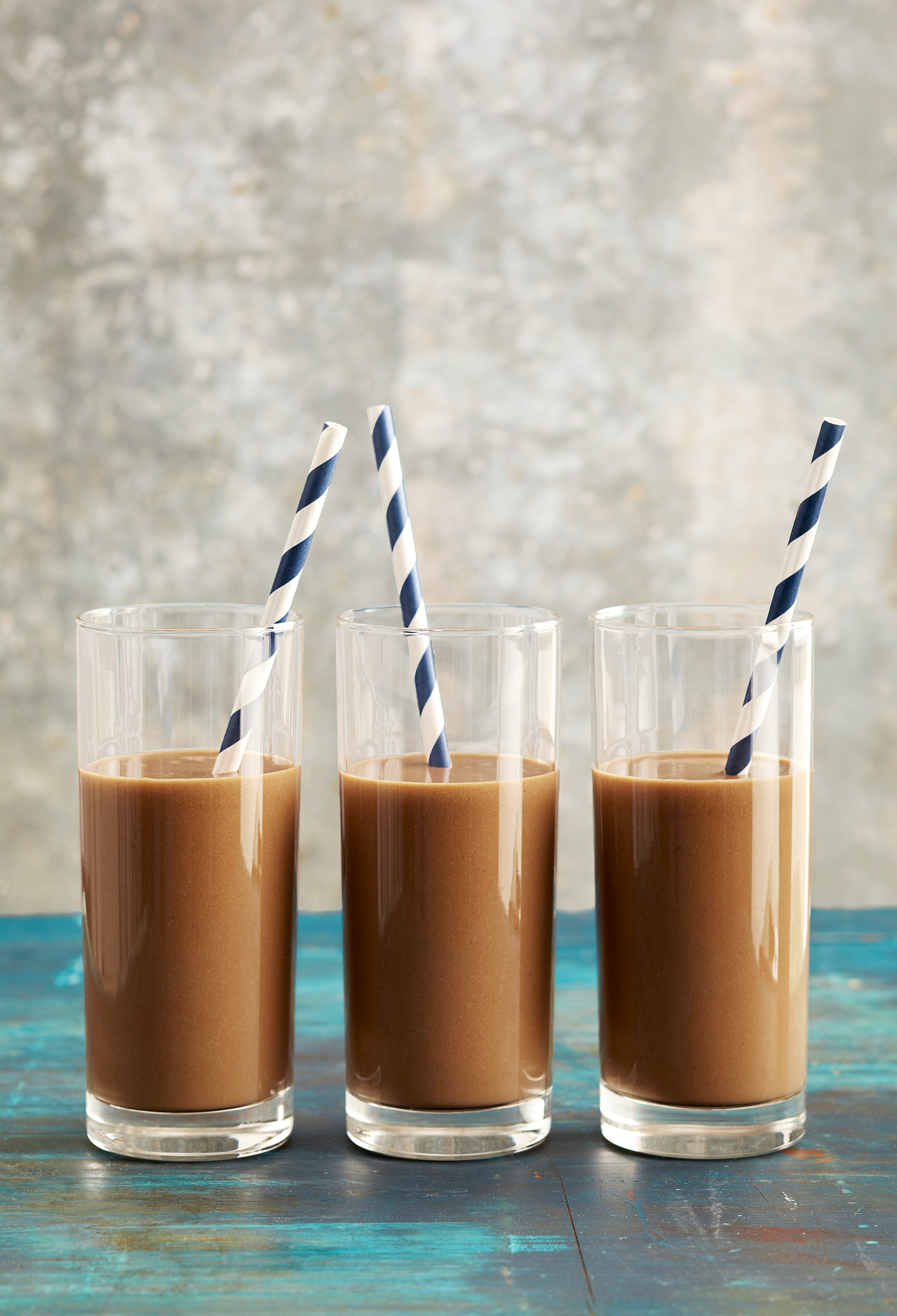 Energizing Mocha-Almond Smoothies with straws