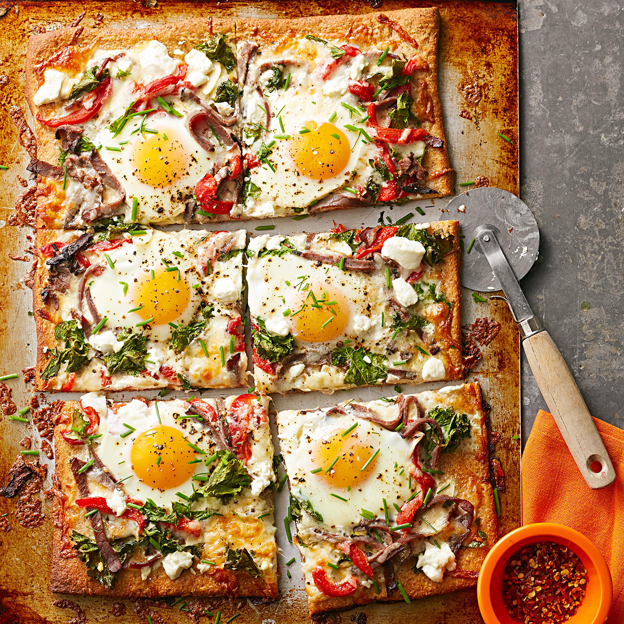 Steak, Egg, and Goat Cheese Pizza