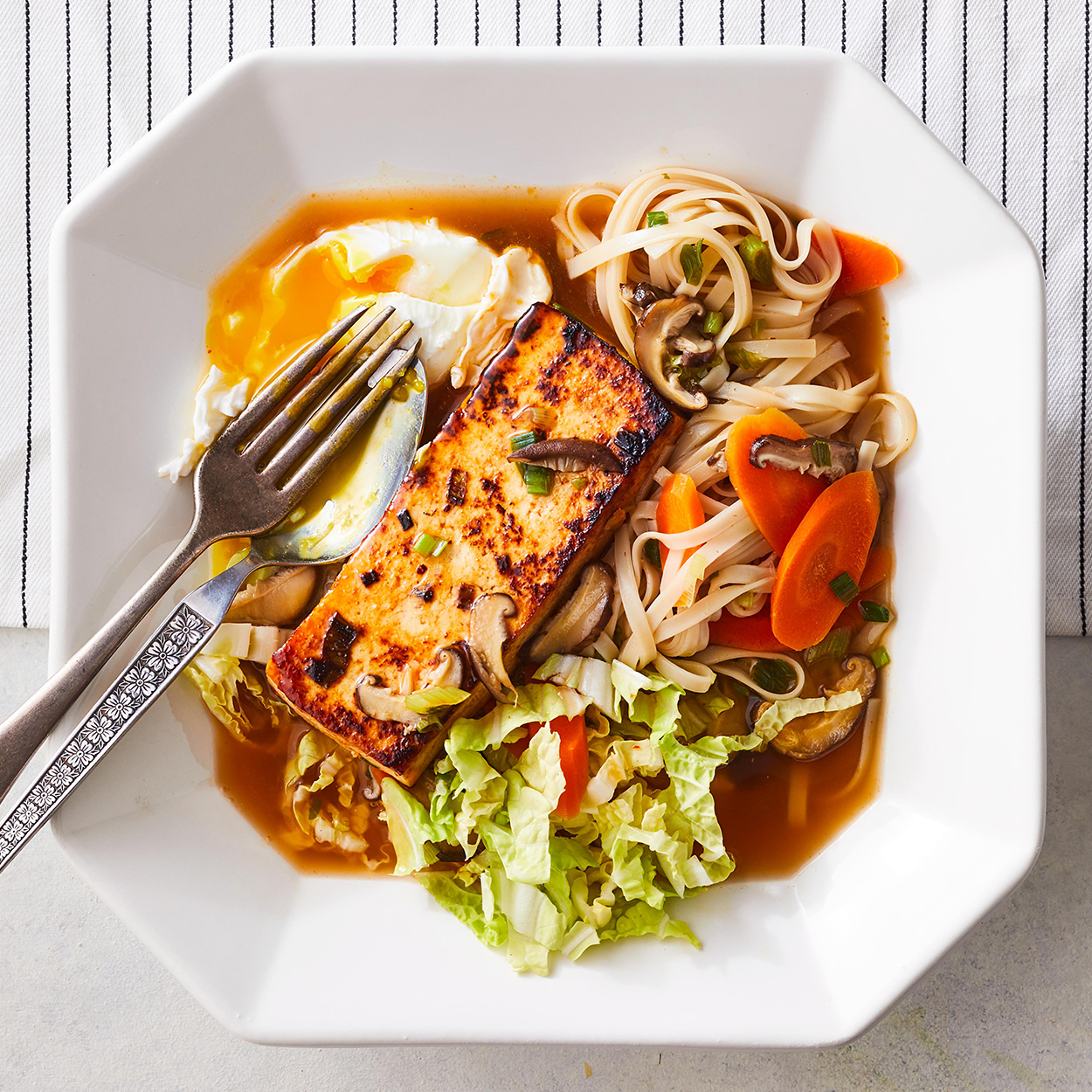 Tofu-Noodle Bowl with Poached Egg