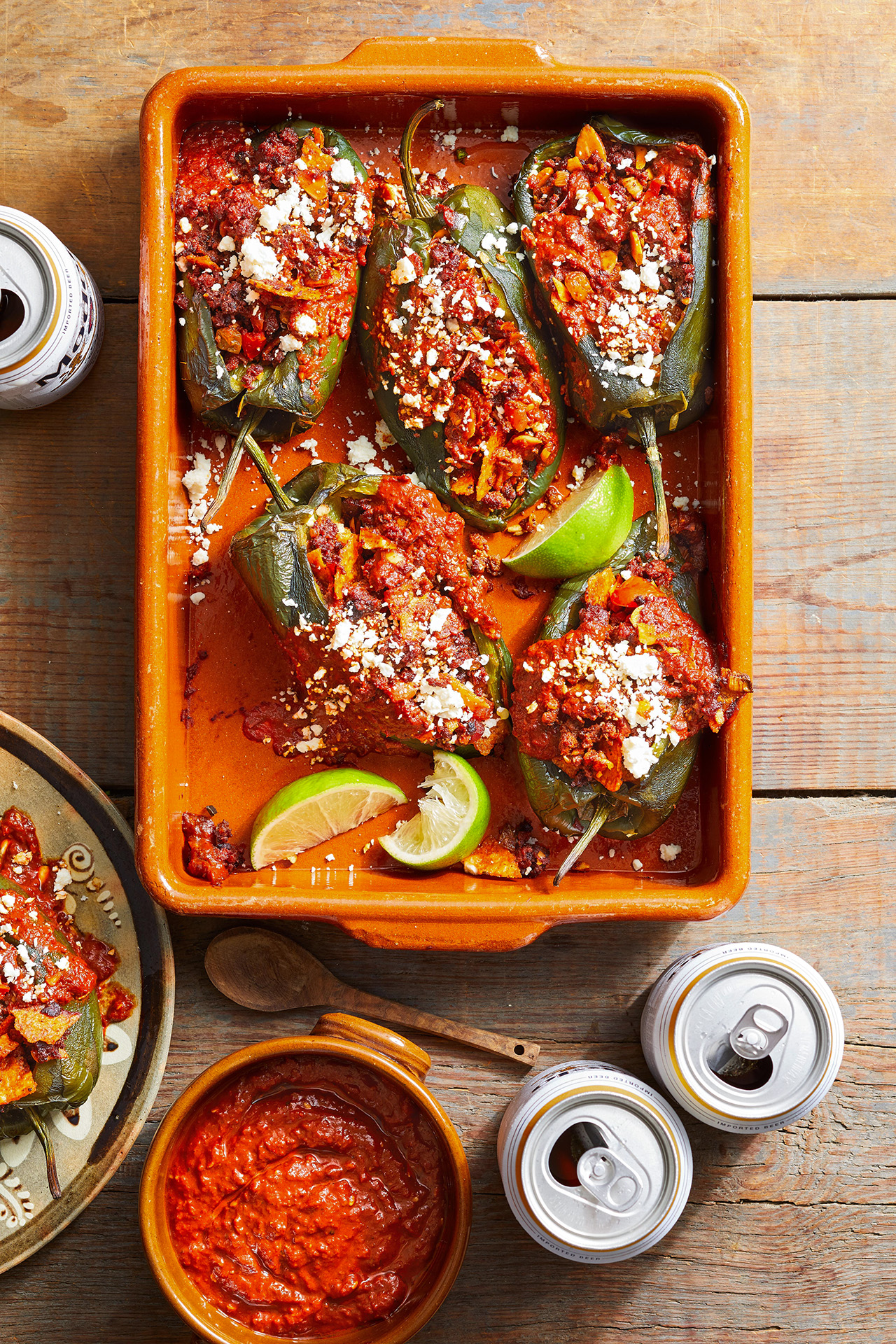 Chilaquiles Stuffed Poblano Peppers