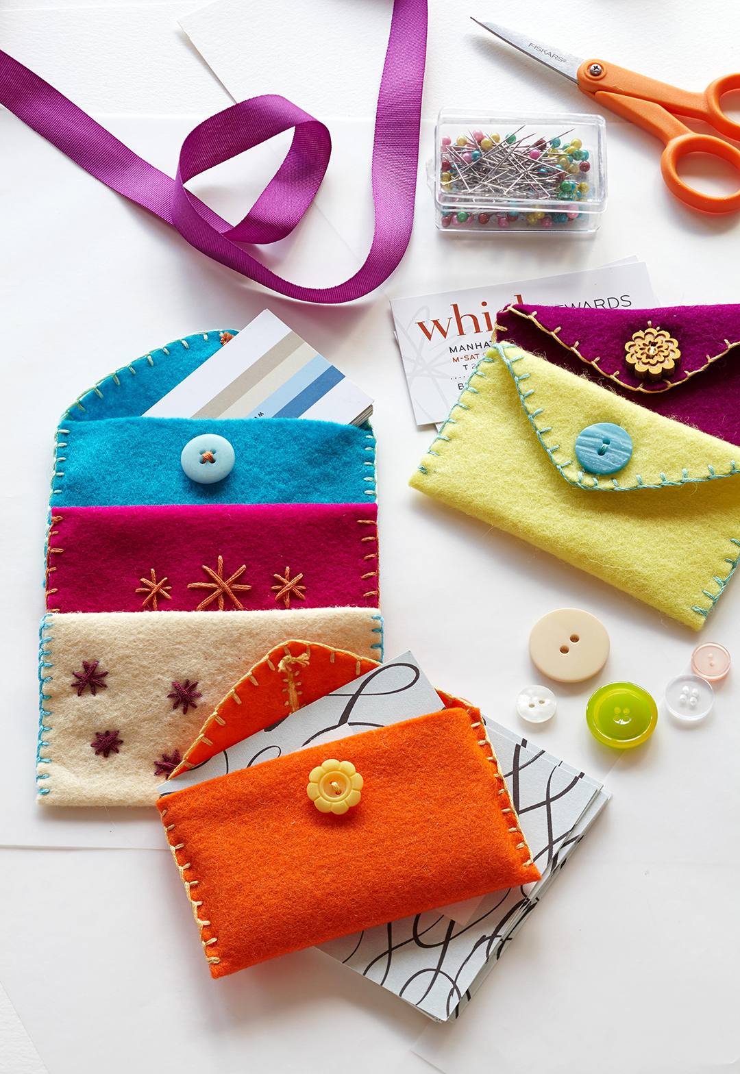 felt card holders and craft supplies
