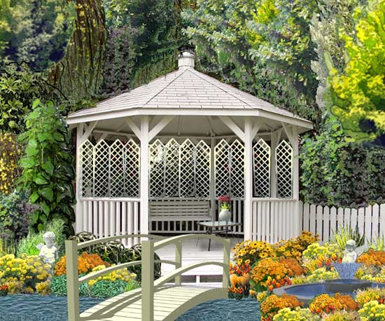 gazebo structure garden illustration