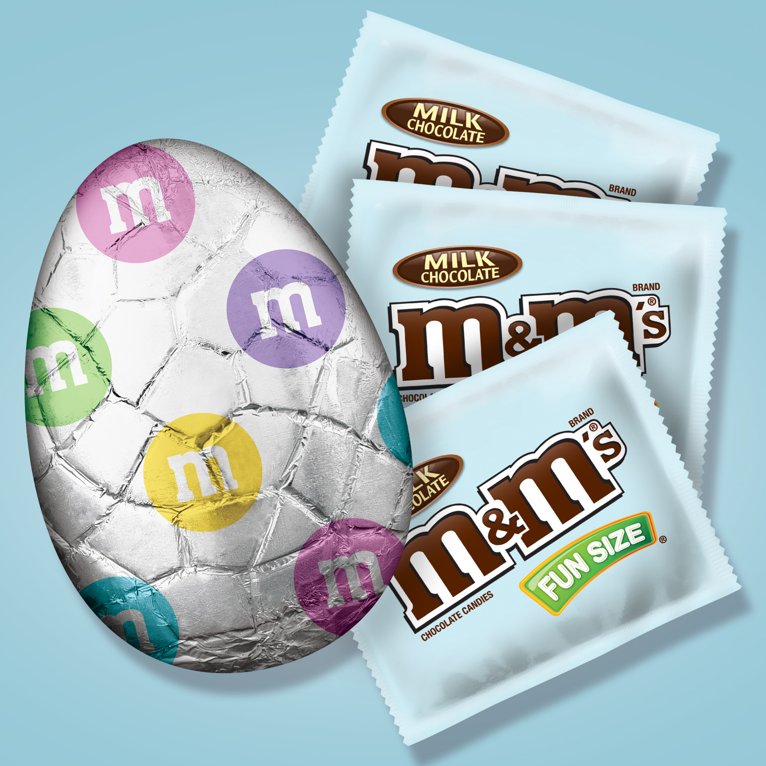 Chocolate Easter egg filled with packages of M&M's