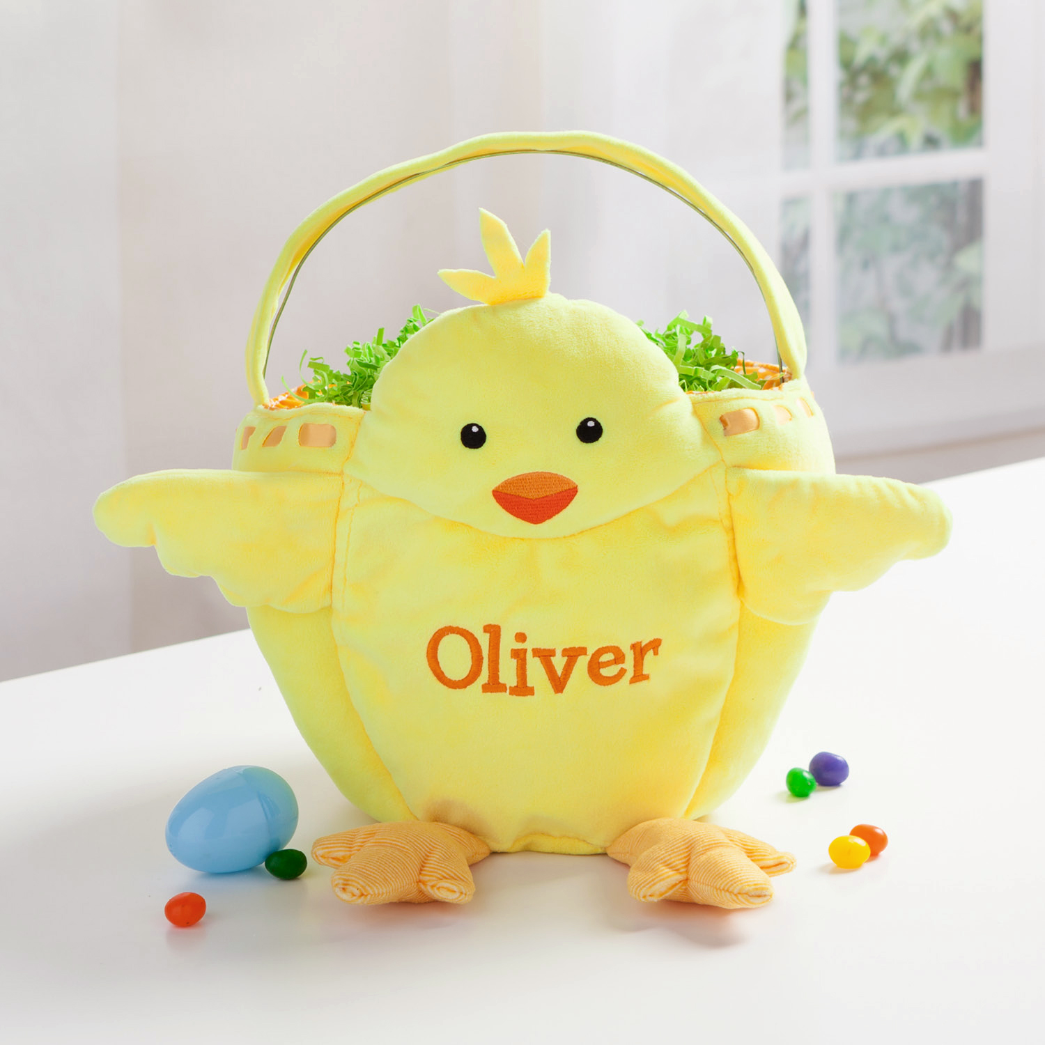 Personalized Yellow Chicks Kids Easter Basket