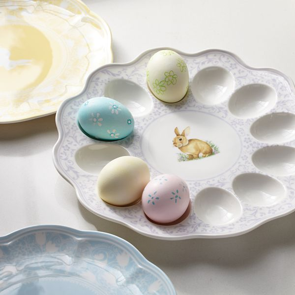 colors of spring lavender egg plate with colored easter eggs