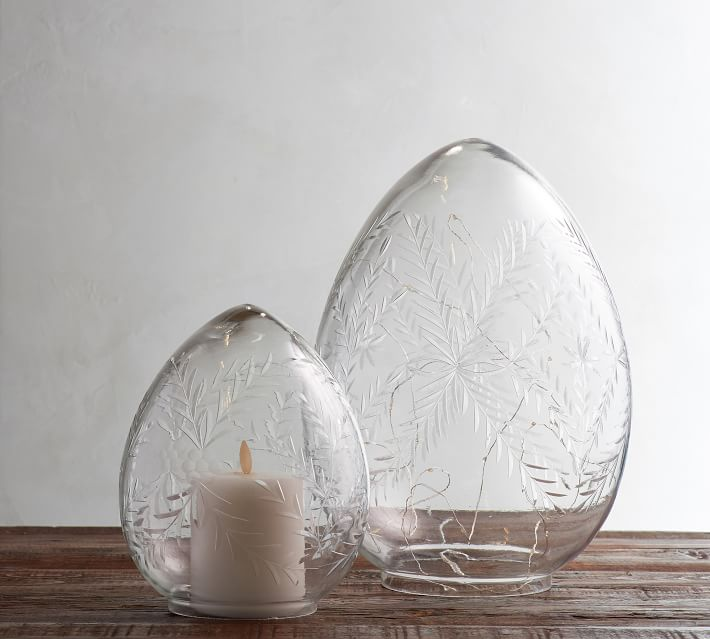 etched glass eggs with candle