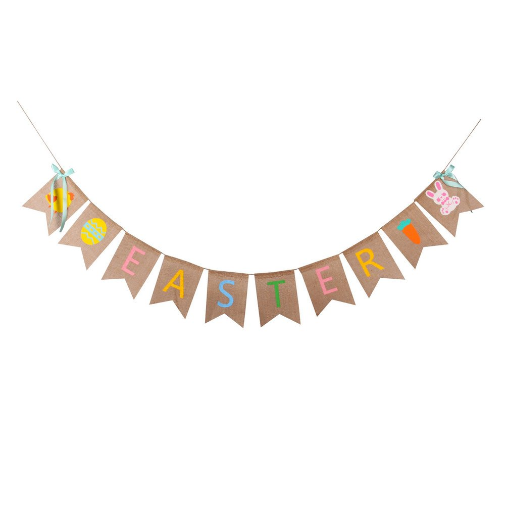 burlap easter banner with blue bows