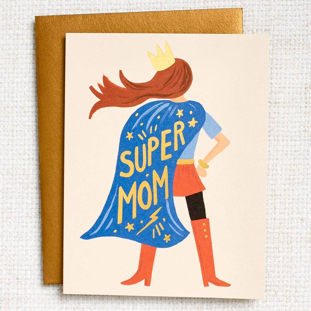 Super Mom Mother's Day Card with woman with blue cape and crown that says super mom in yellow text