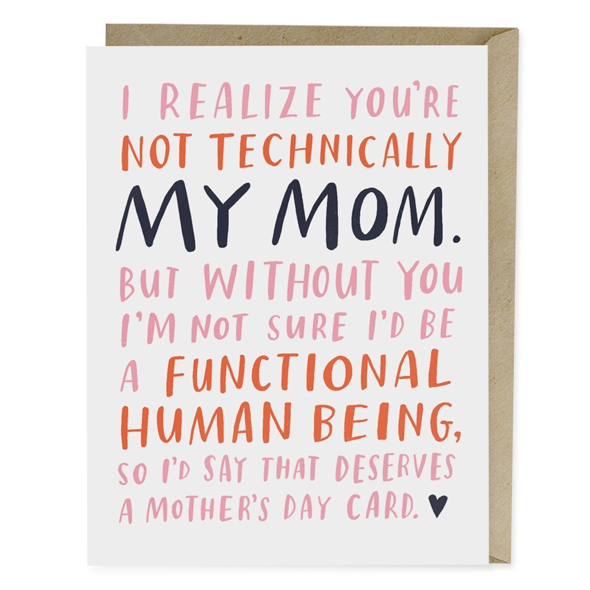 mother's day card says i realize you're not my mom but without you I sure wouldn't be a functioning human being so i think that deserves a mother's day card