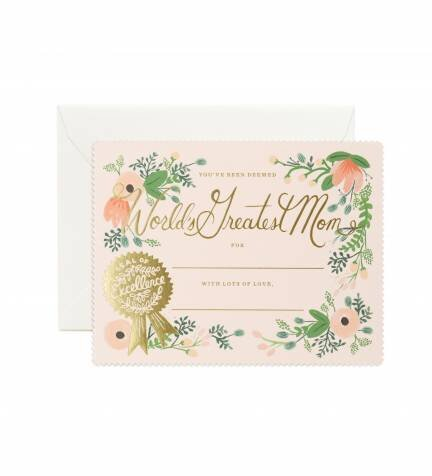 mother's day card looks like a certificate for world's greatest mom with gold seal