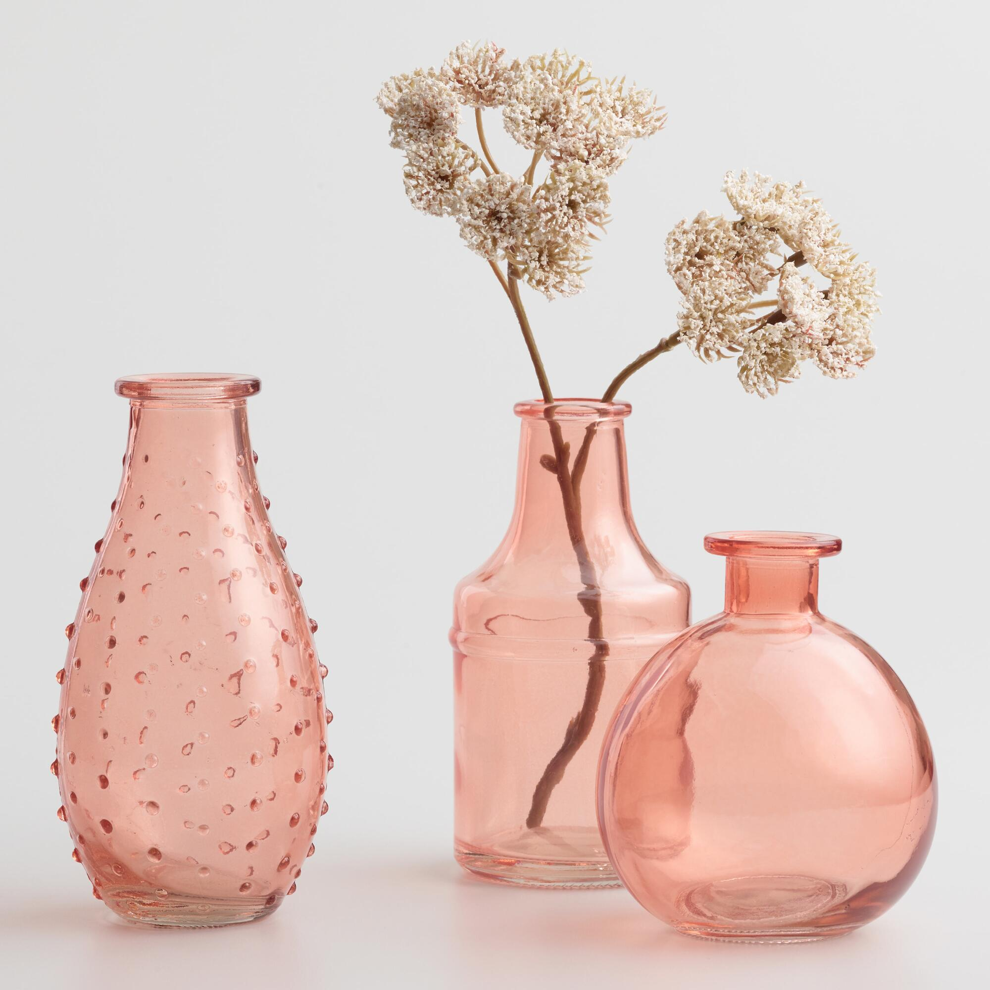 coral glass bud vases