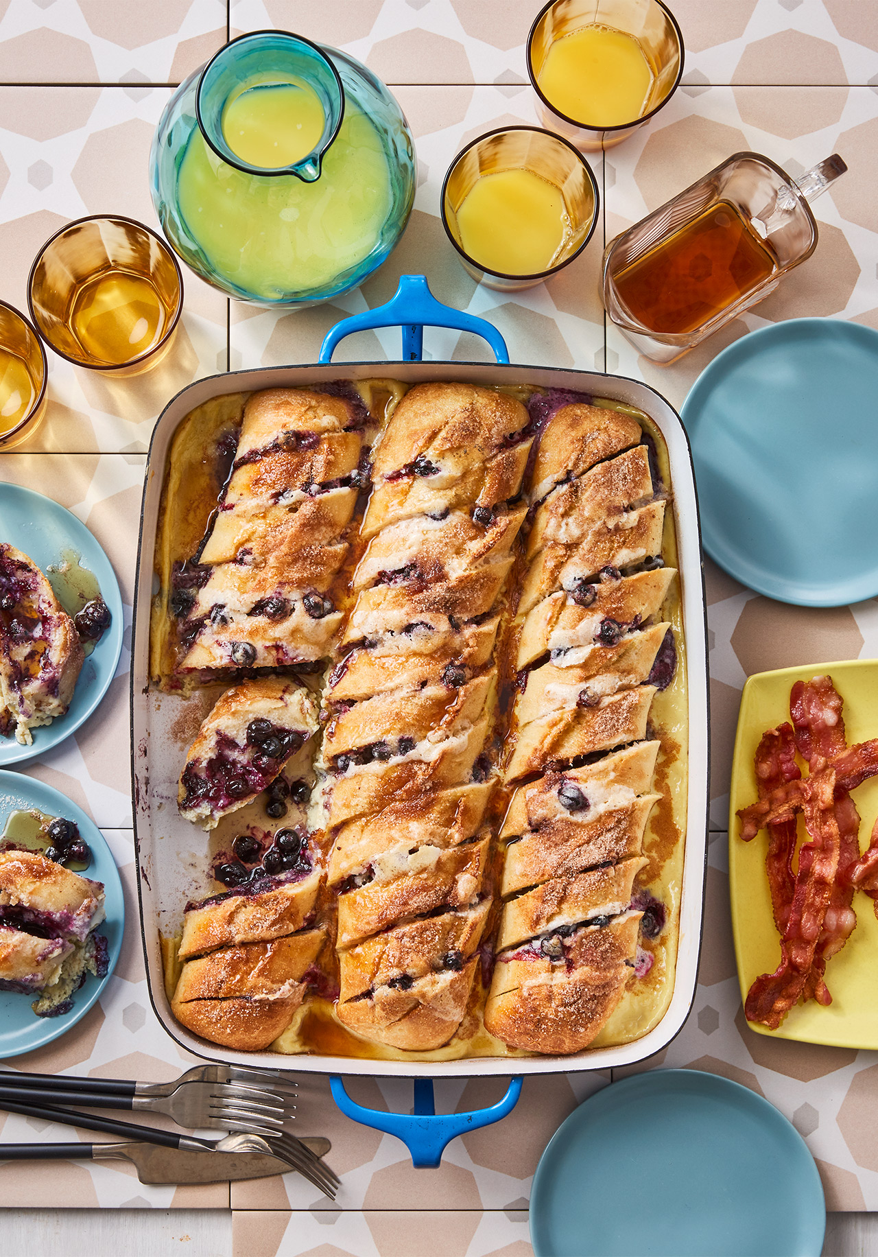 Blueberry- and Mascarpone-Stuffed French Toast Casserole