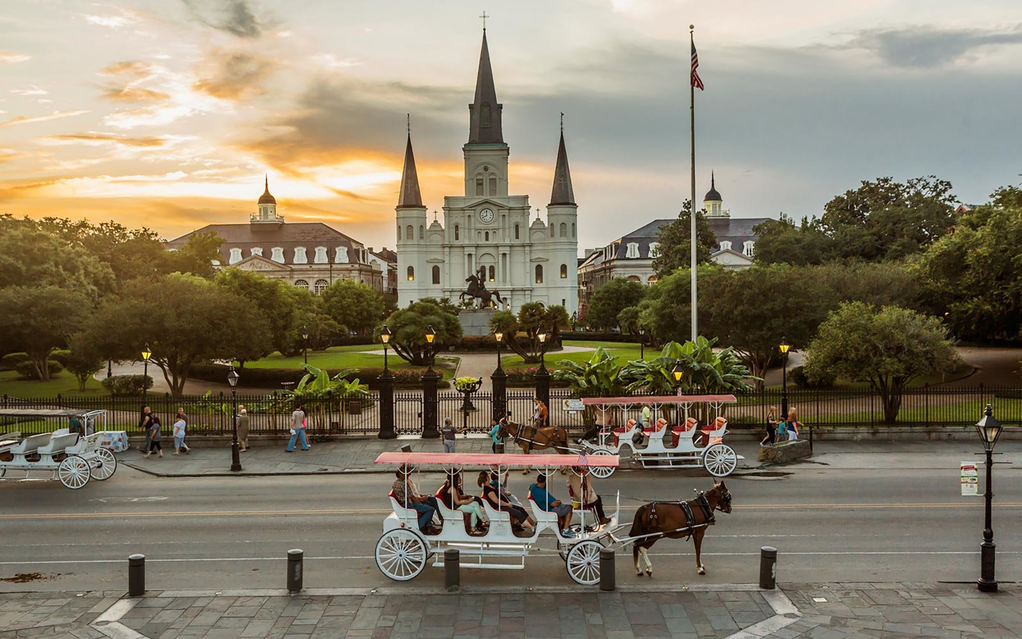 French Quarter, royal carriages in Jackson Square