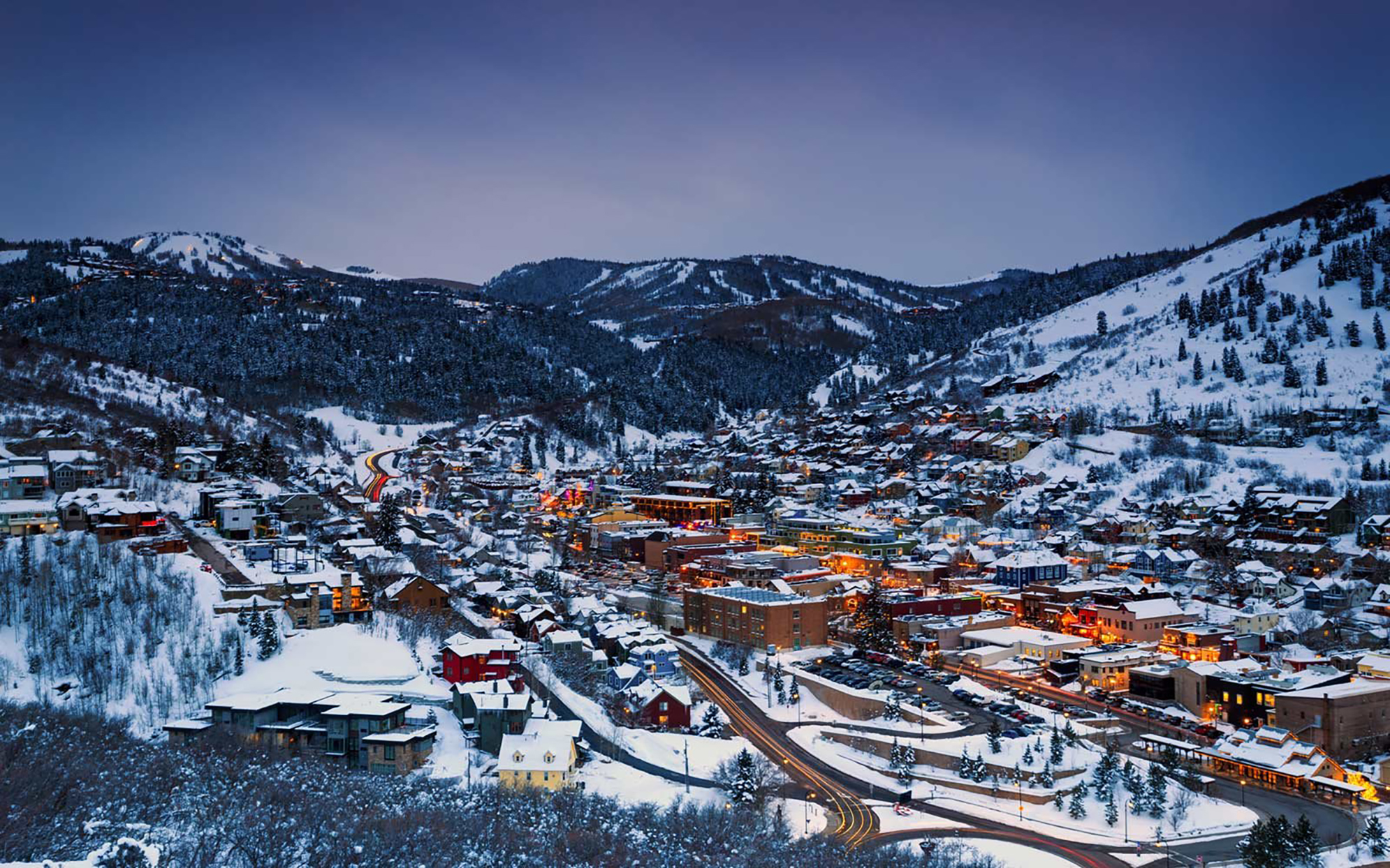 Night lights in old town Park City, Utah, USA.