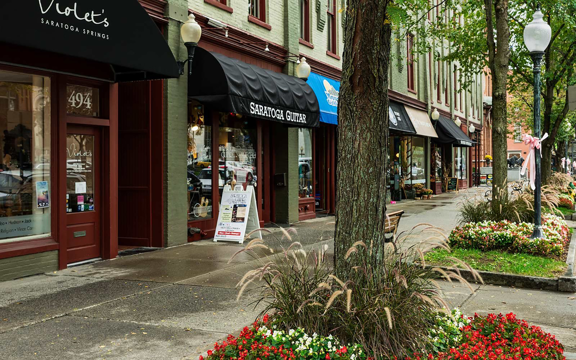 Downtown shops in Saratoga Springs, New York