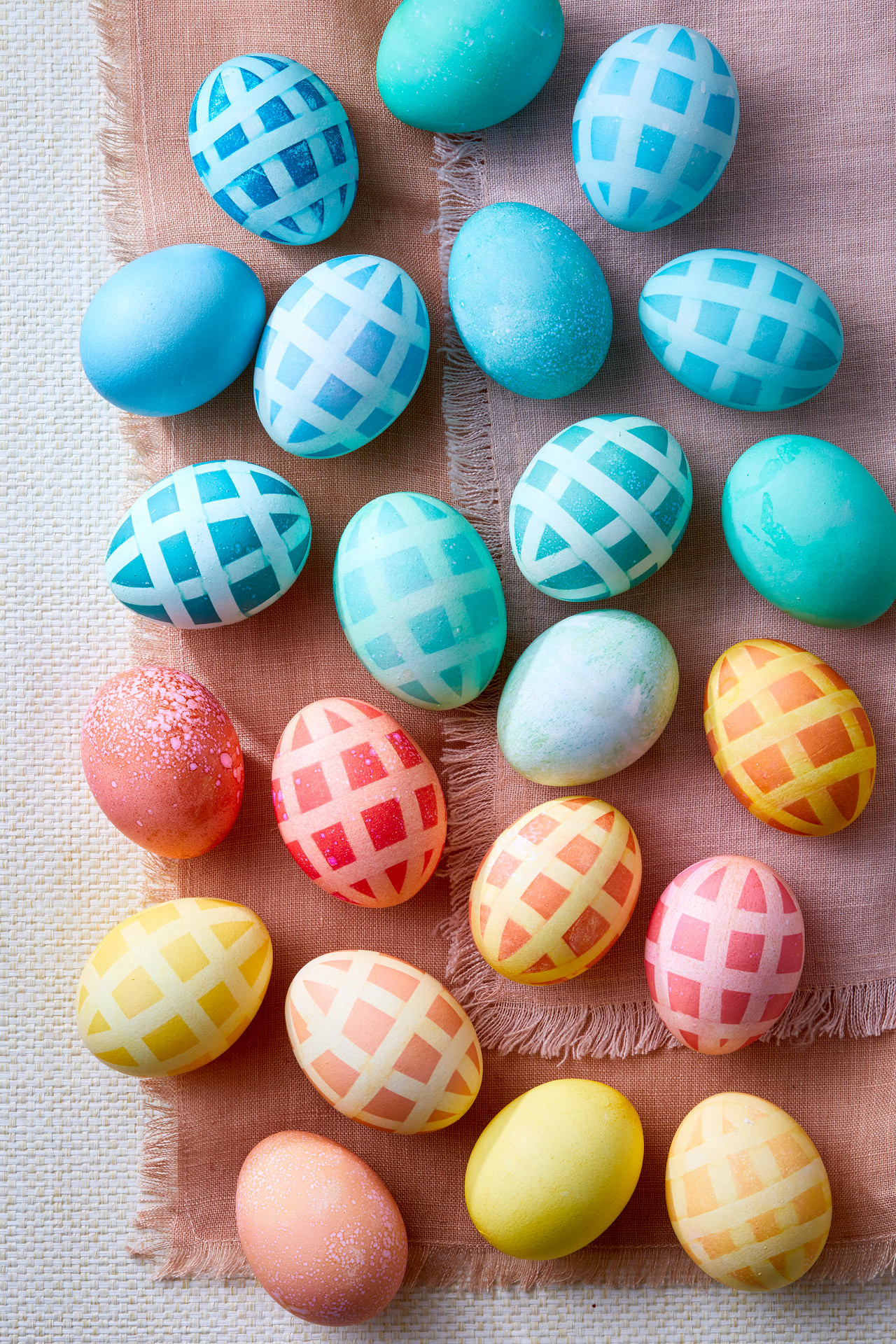dyed easter eggs checkered pattern