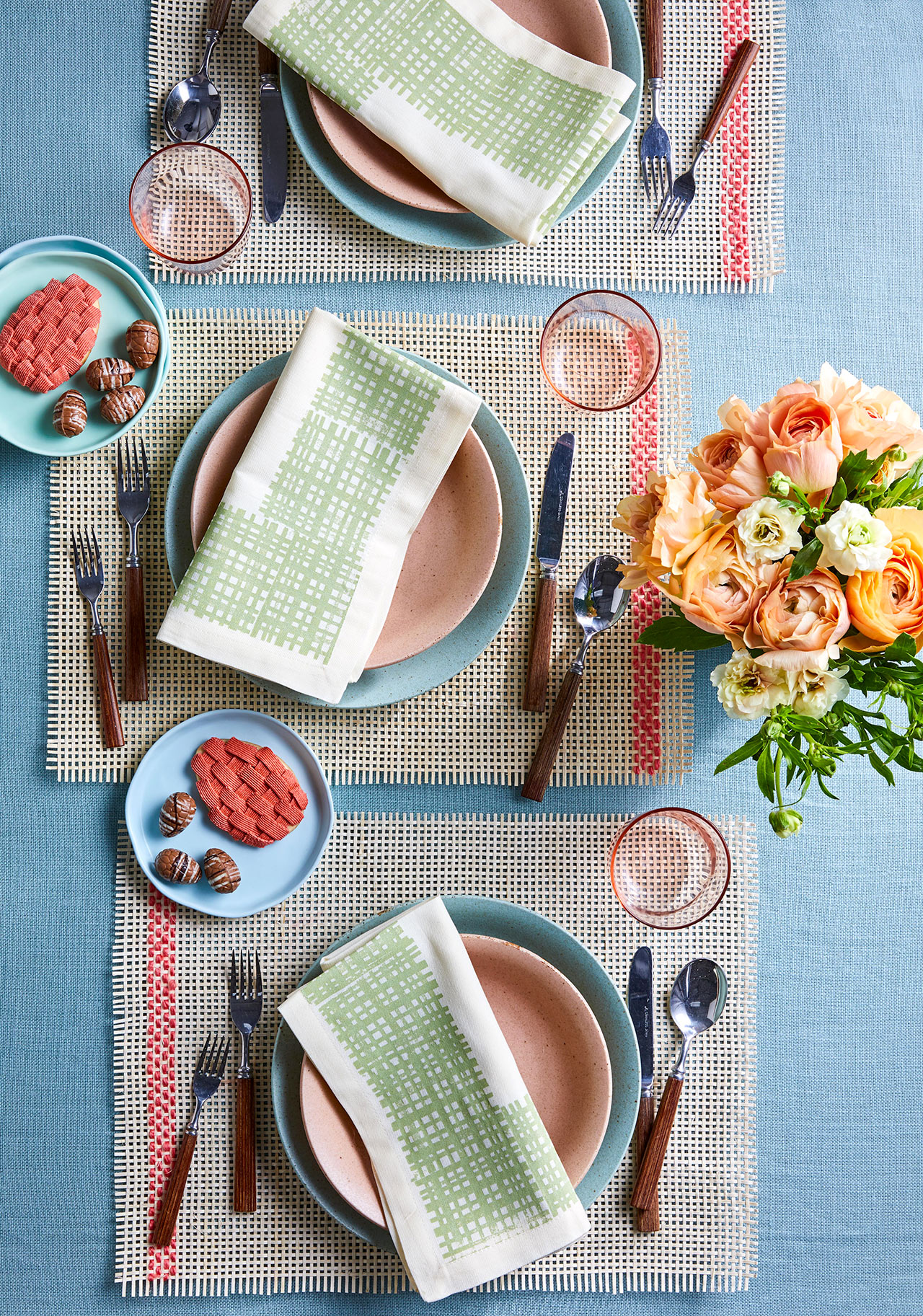 stamped napkins weaved easter placemants