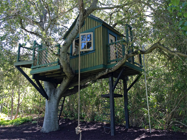 green treehouse with rope swing