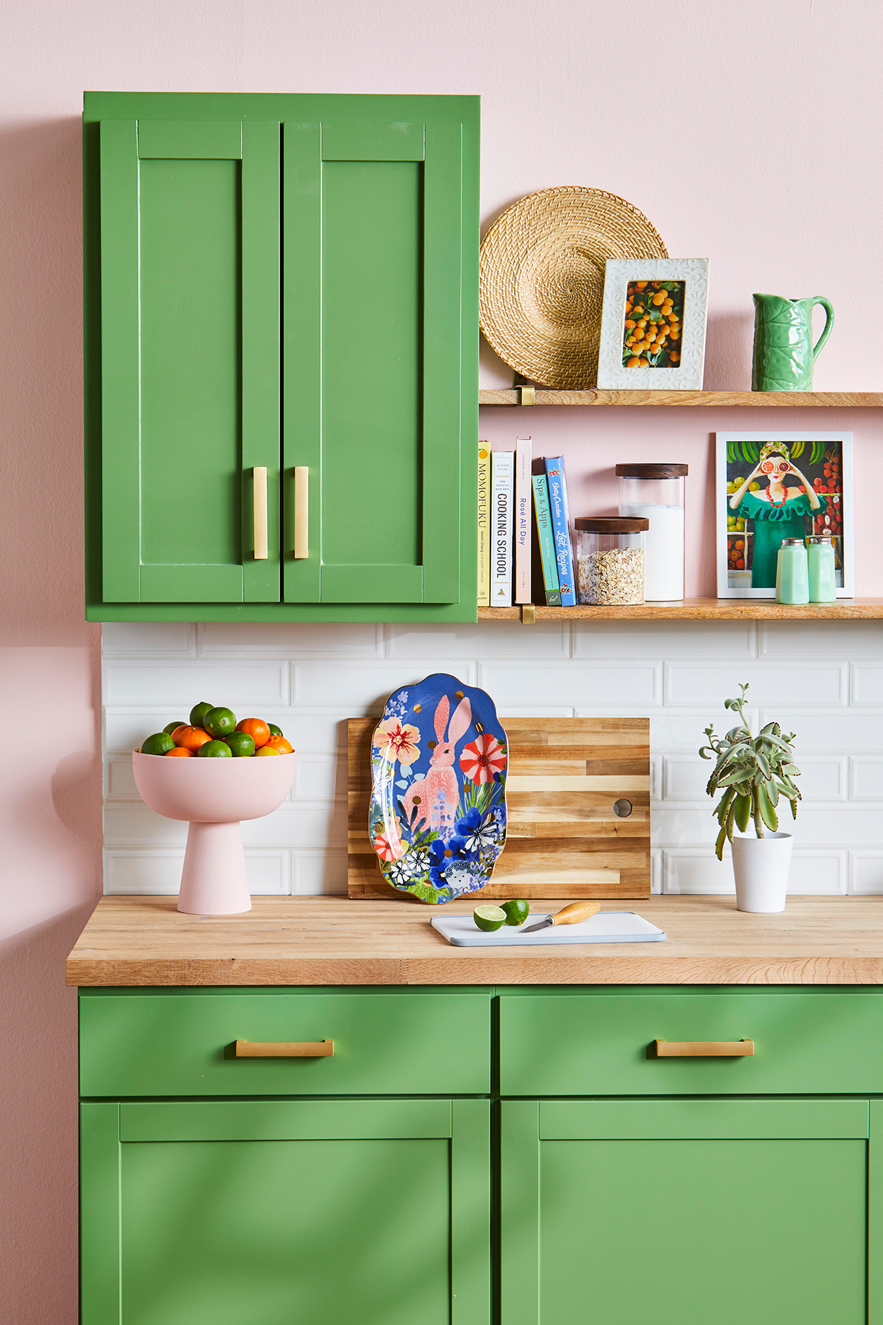 green cabinet with open shelving for decor