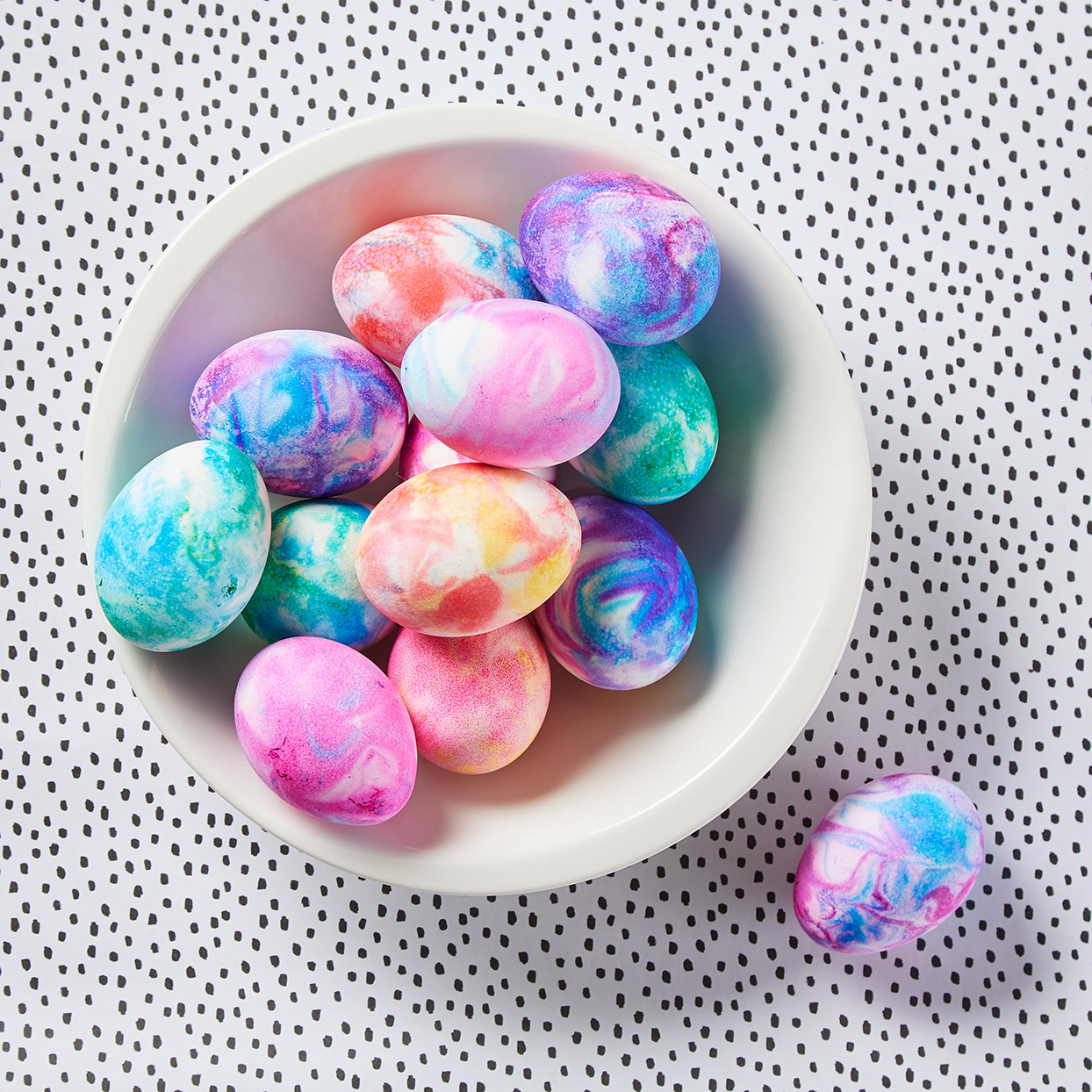 easter eggs decorated with colorful swirls
