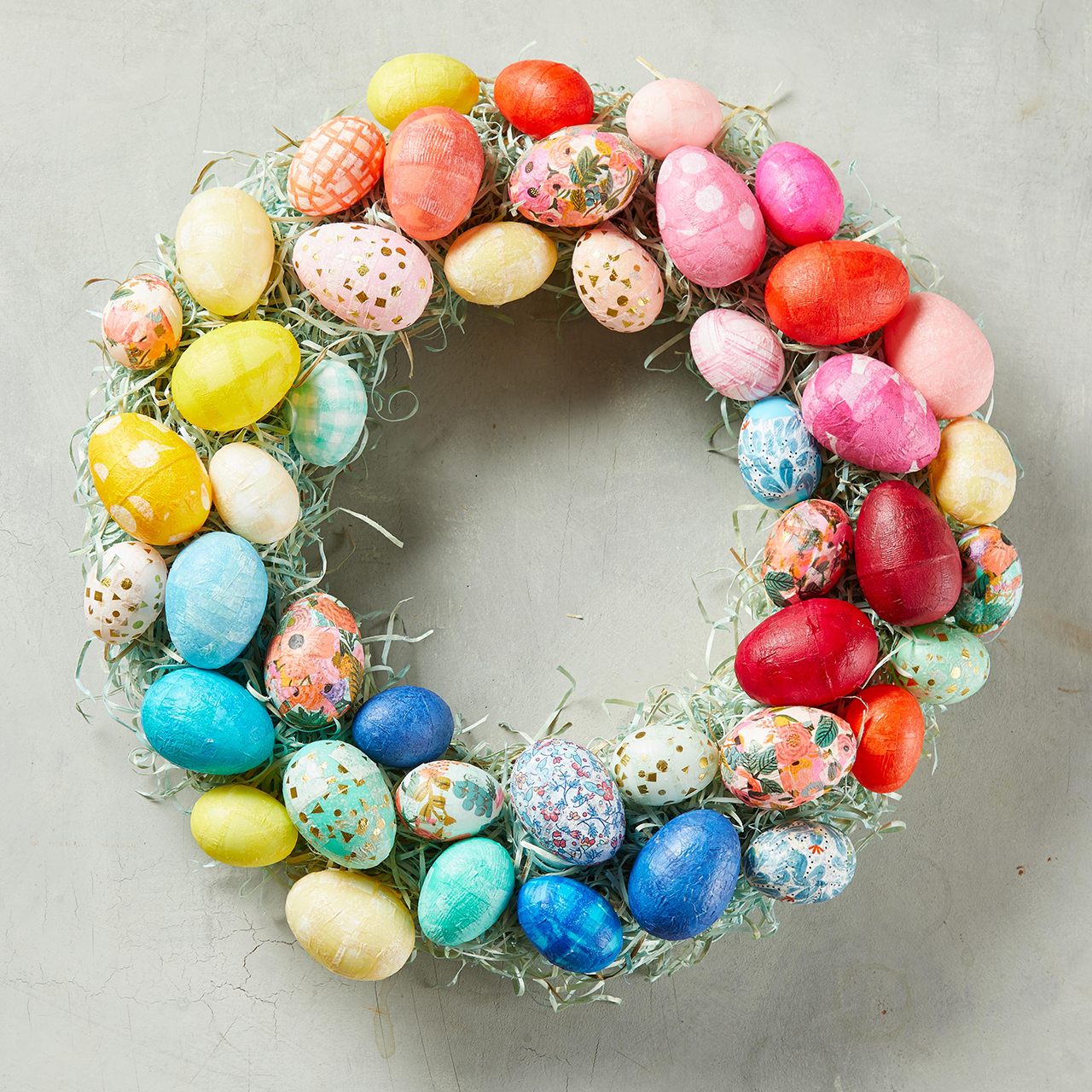 spring easter egg wreath with grass