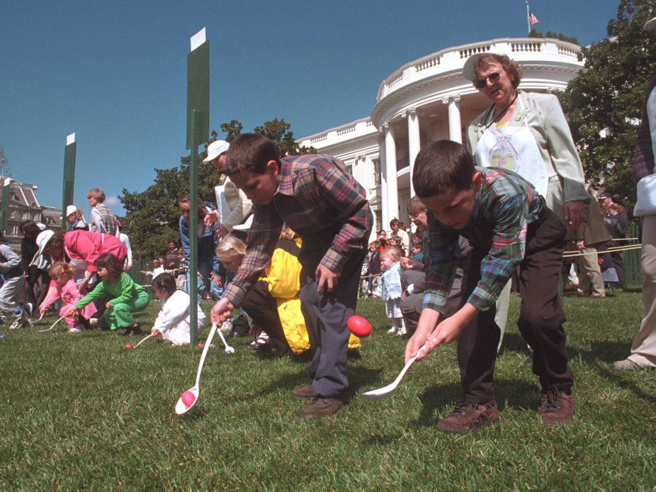 kids doing the easter egg roll at the white house