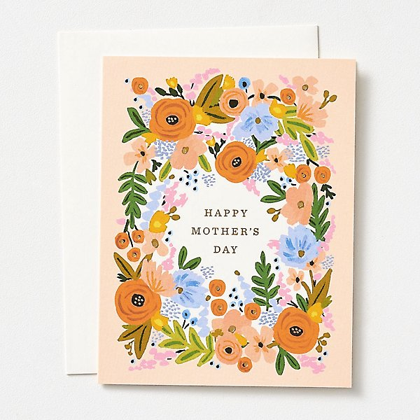 peach floral happy mothers day card