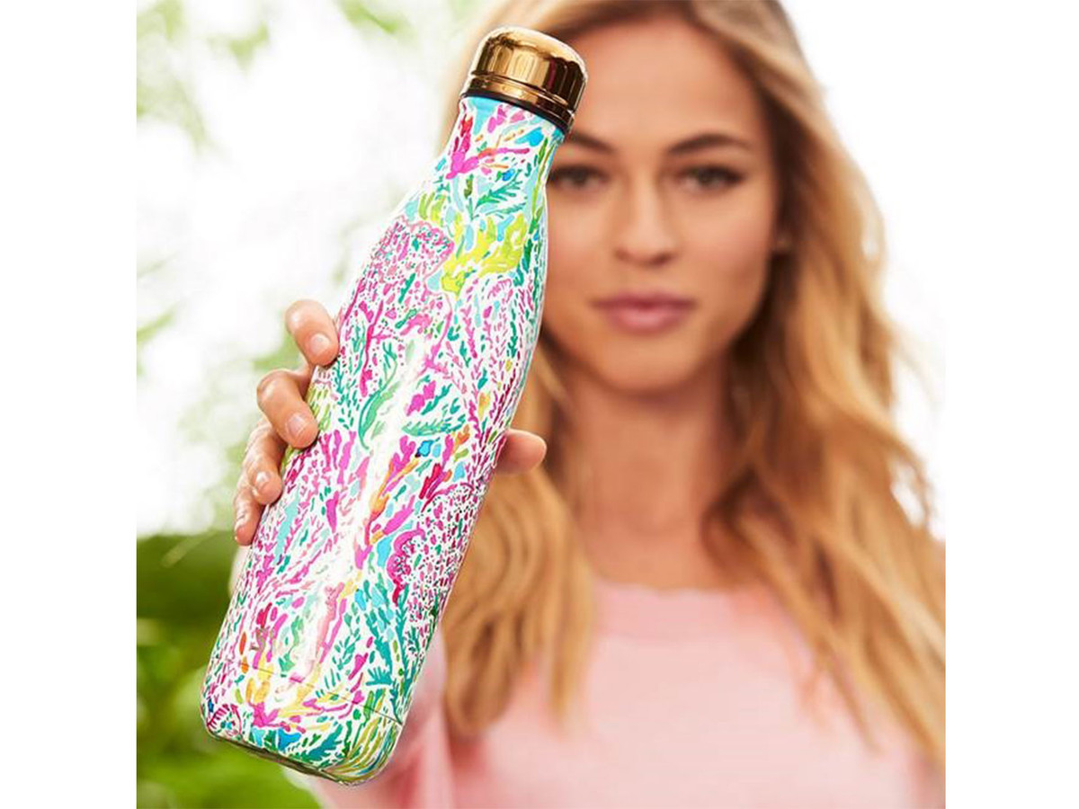 Lilly Pulitzer bottle held by blonde woman