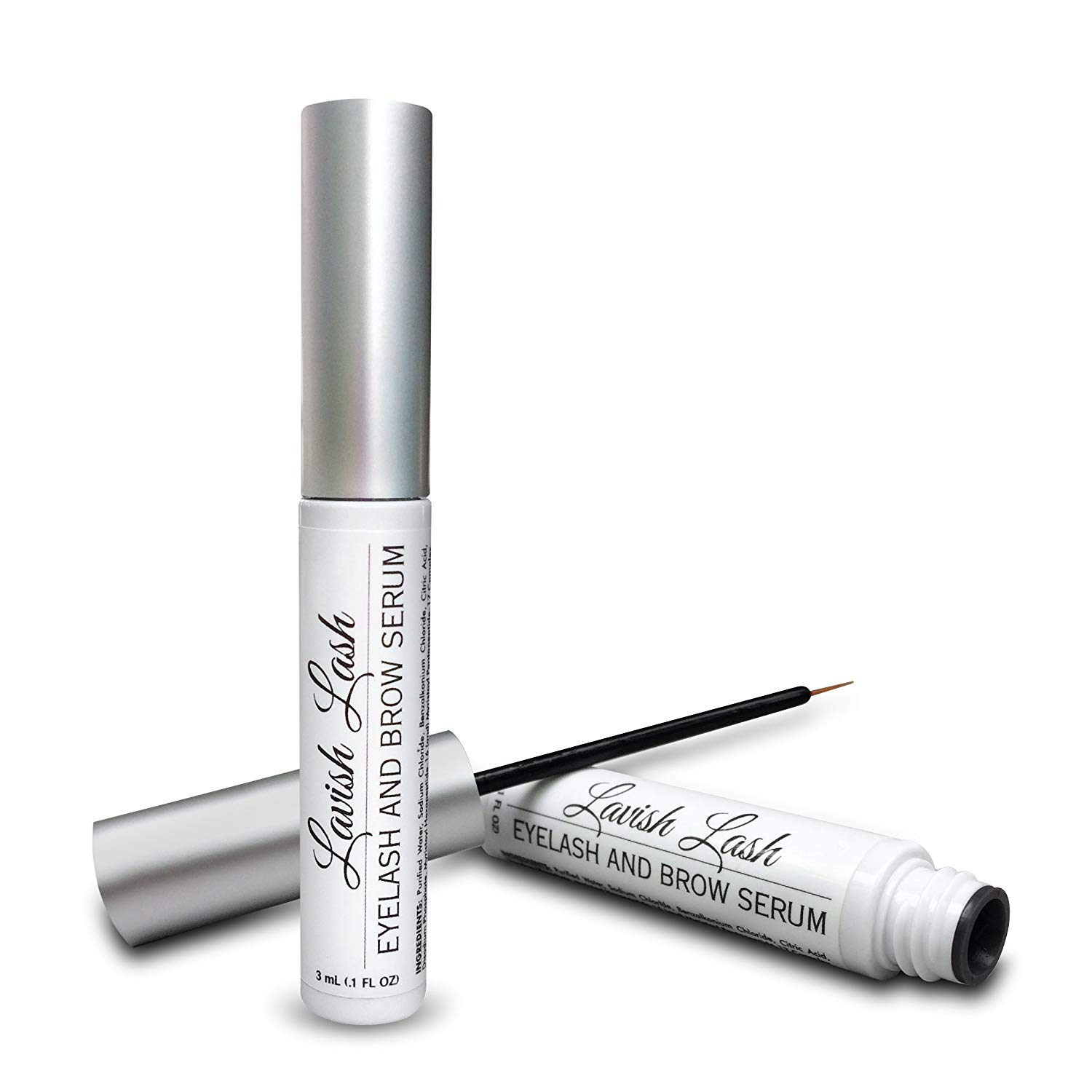 lavish lash serum in a white and silver bottle