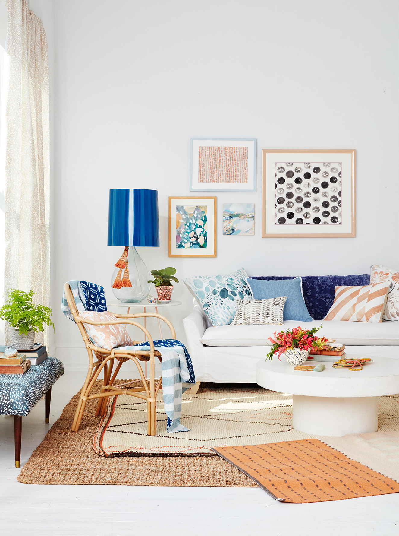 Blue and White Living Room with gallery wall and furniture
