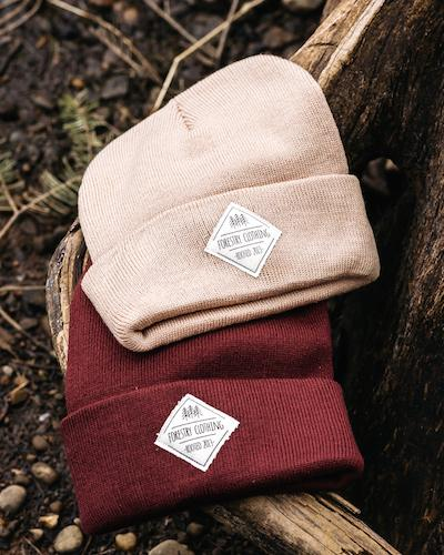 Forestry unisex beanies in pink and maroon
