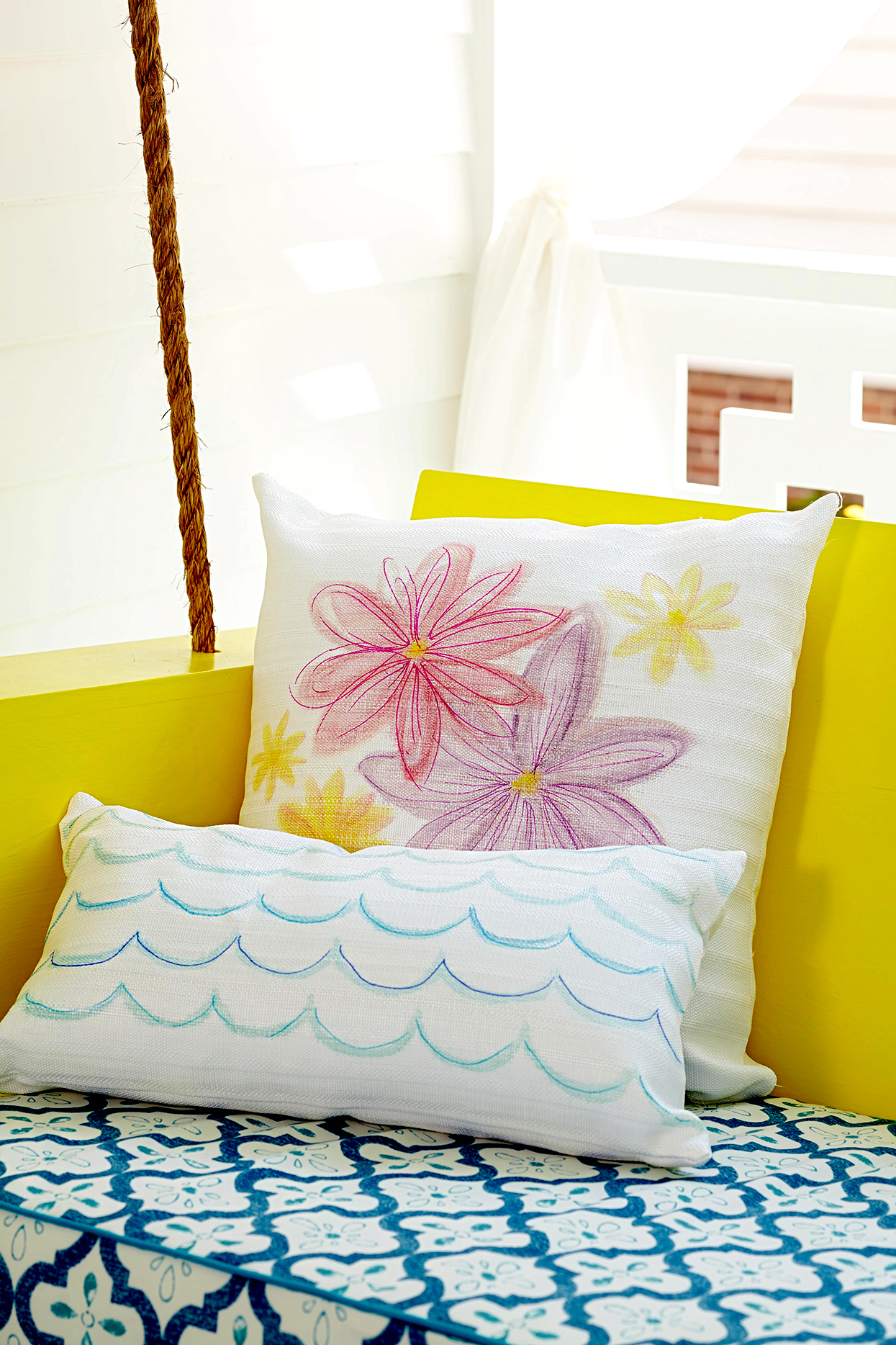 diy decorated throw pillows on swing