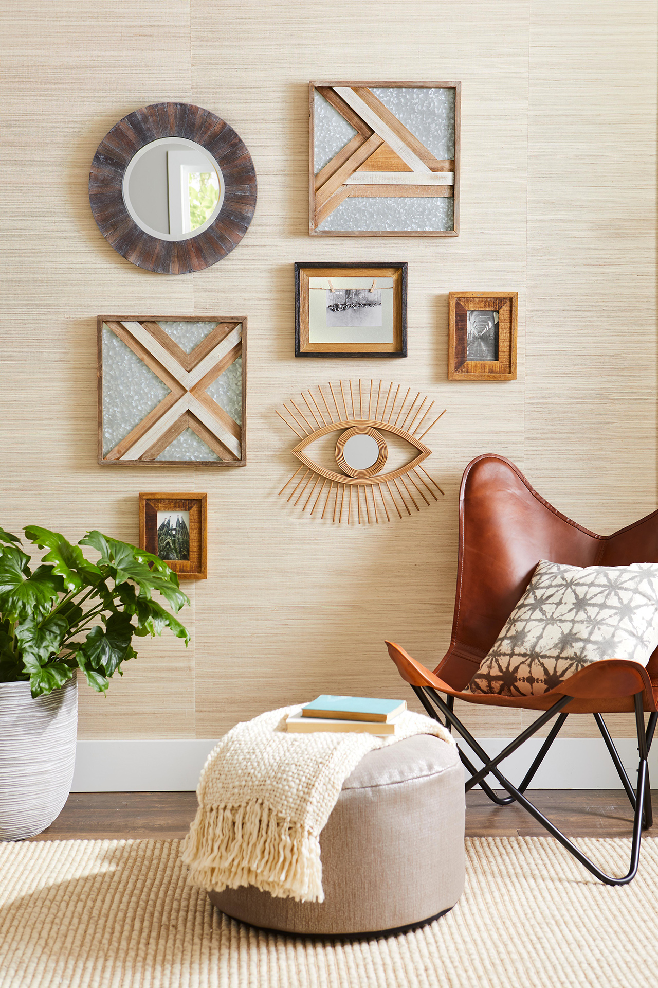 sitting area with various wall decor