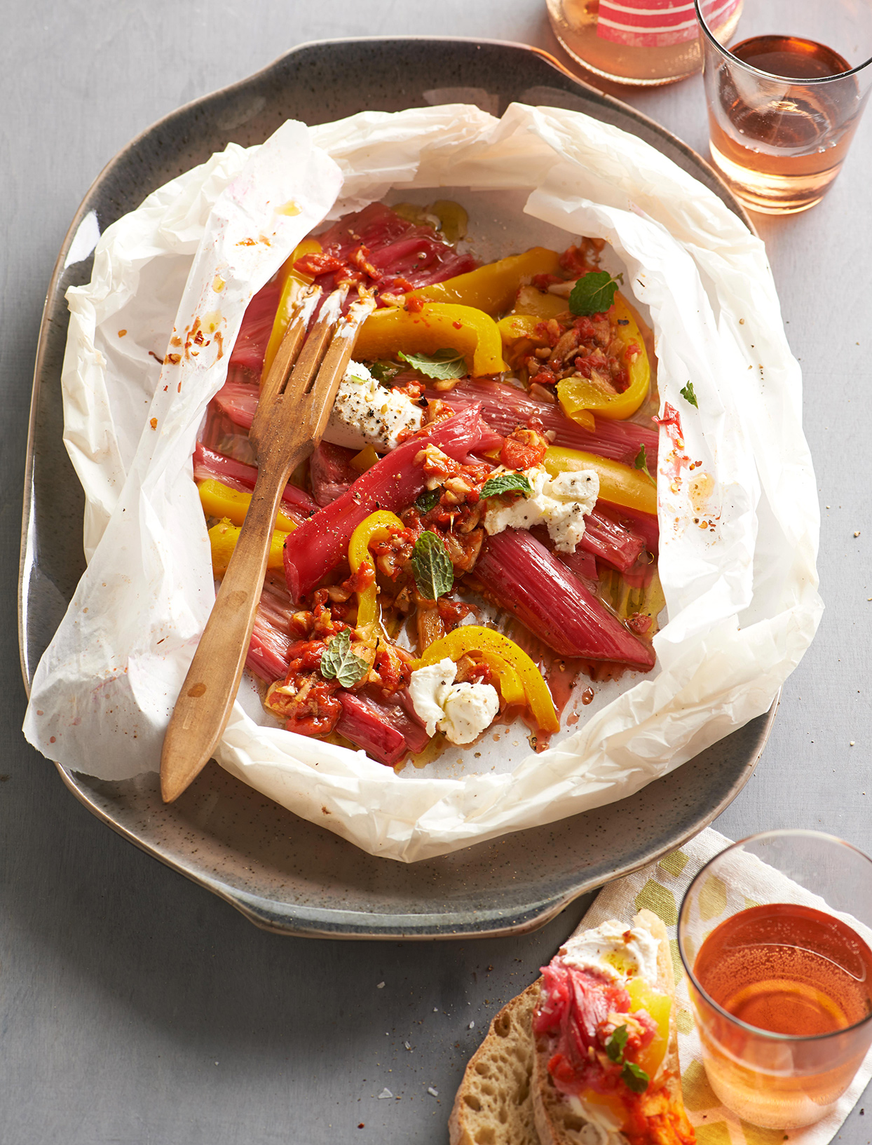 Melty Rhubarb, Peppers, and Goat Cheese