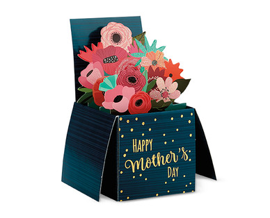 Blue Mother's Day card with paper flowers coming out of it