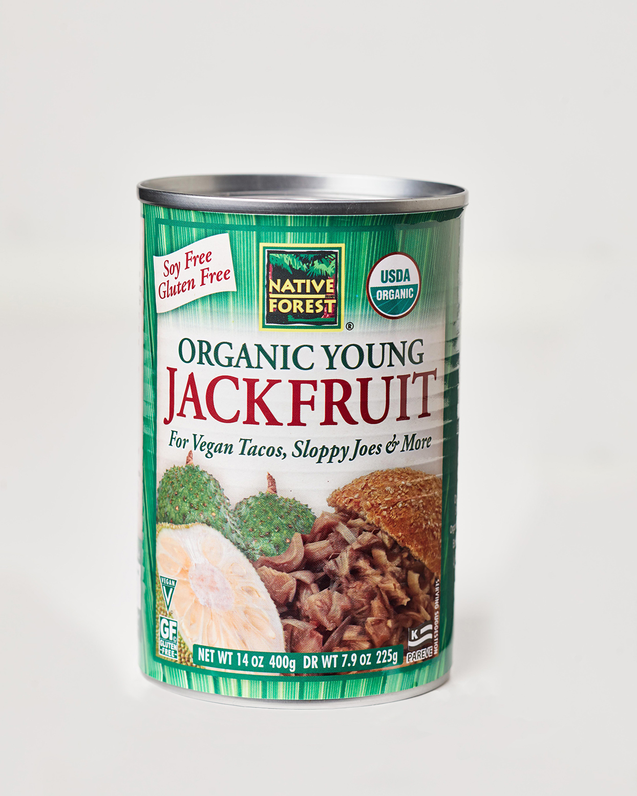 Can of organic young jackfruit on white surface