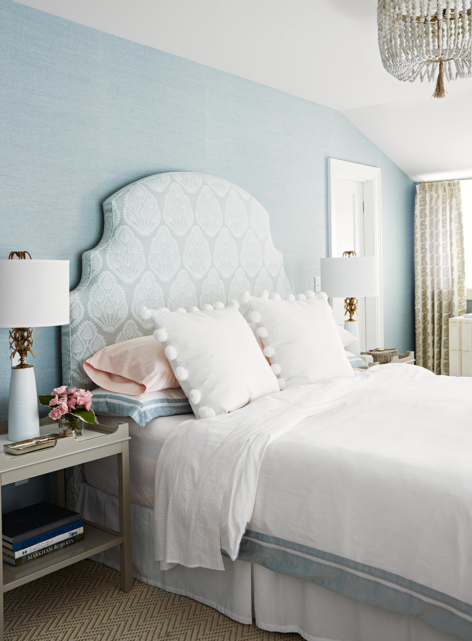 master bedroom blue green painted walls