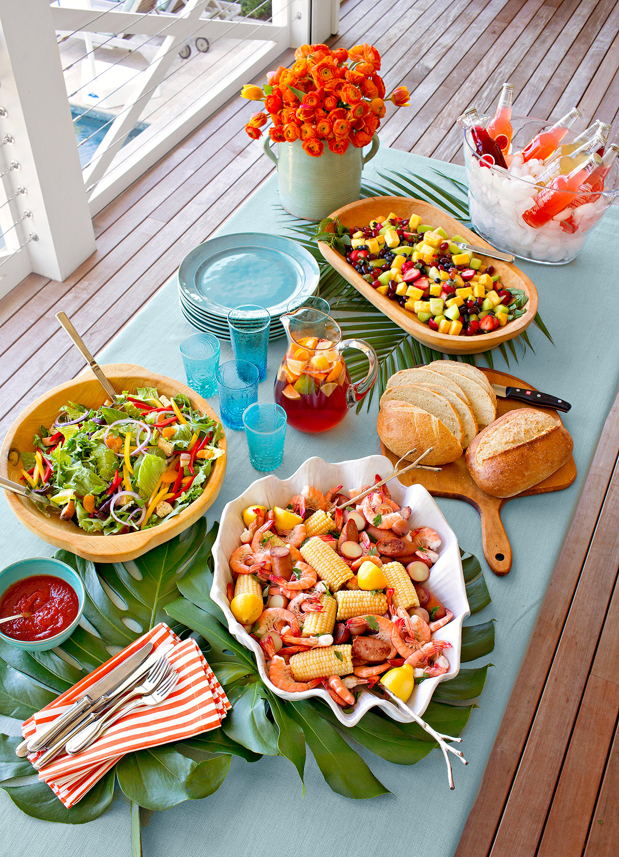 garden party spread with food dishes