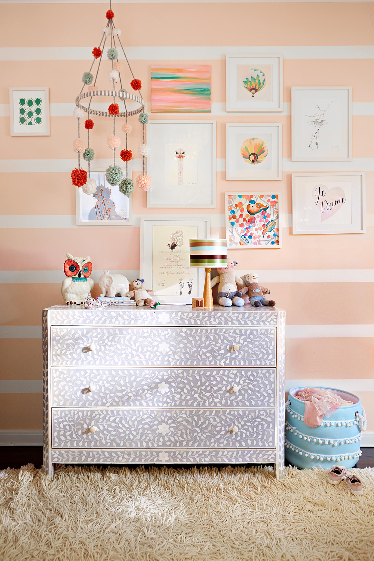 girls bedroom with painted dresser