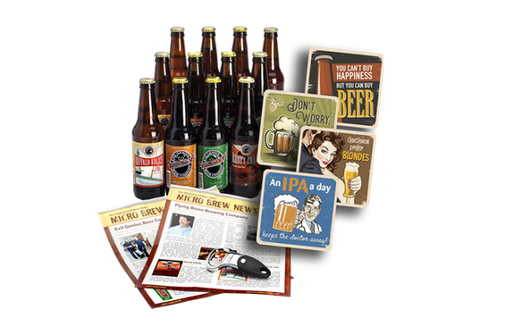 12 craft beers, 2 newsletters and 4 coasters