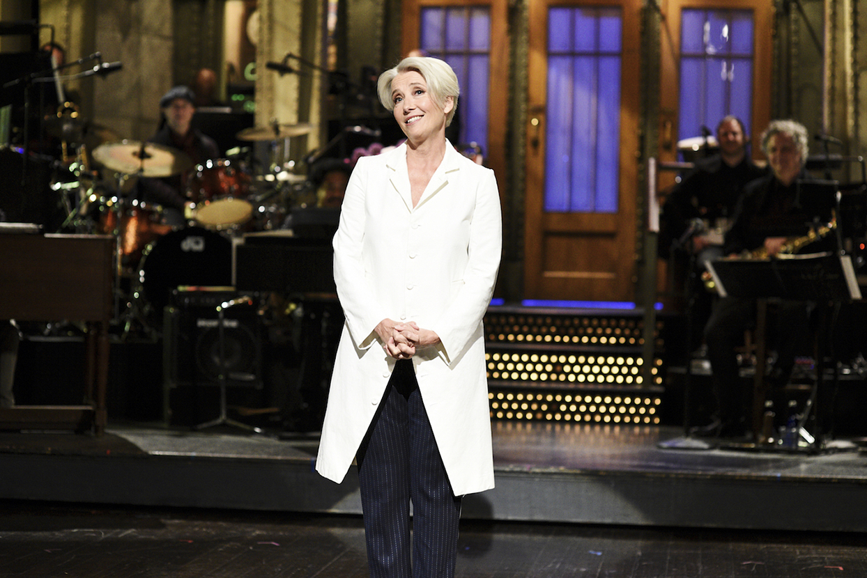 """SATURDAY NIGHT LIVE -- """"Emma Thompson"""" Episode 1766 -- Pictured: Host Emma Thompson during the Monologue on Saturday, May 11, 2019"""