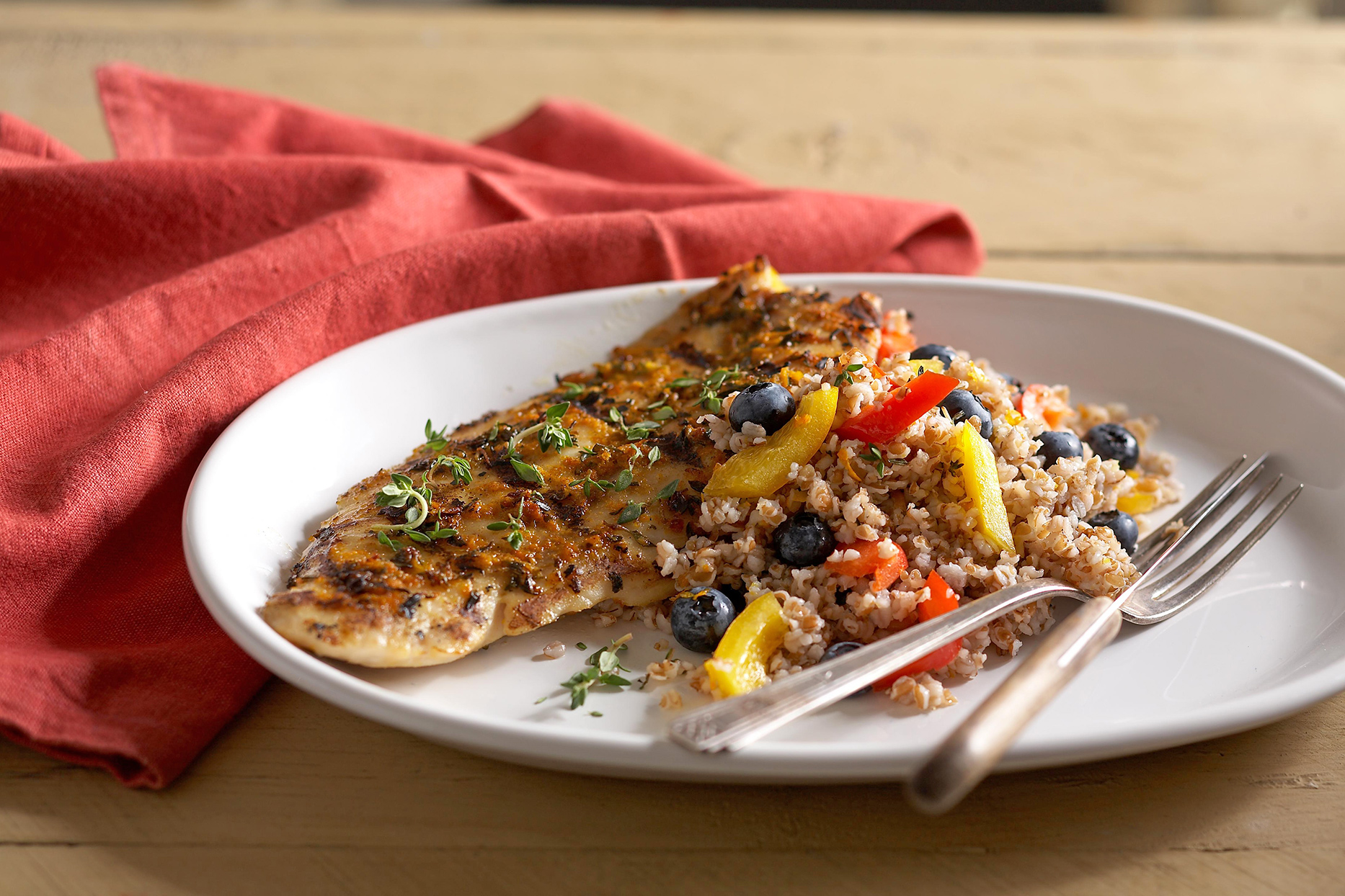 Spice-Rubbed Grouper with Berry Salad